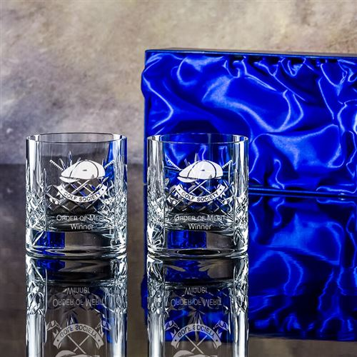 Engraved Crystal Boxed pair of Edward Tumblers