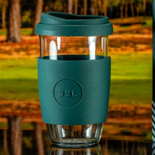 Large Deep Sea Green Engraved Sol Coffee Cup