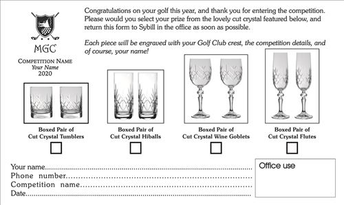 Prize sheet - keep your winners happy!
