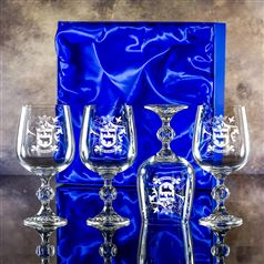 Four Claudia Engraved Goblet Glasses Gift Set
