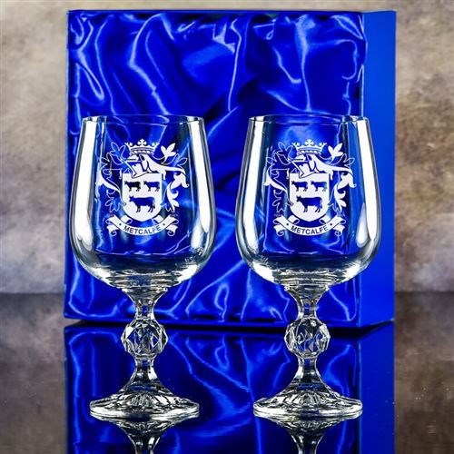 Engraved Crystal Claudia Goblet pair in a presenta