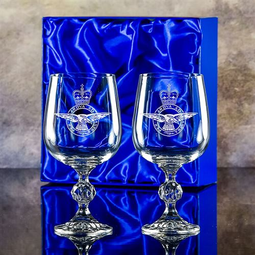 Two Claudia Engraved Goblet Glasses Gift Set