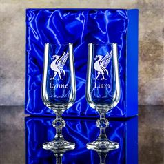 Two Claudia Engraved Champagne Flutes Gift Set