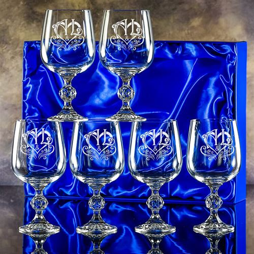 Engraved Crystal Claudia Goblet Set of six, presen