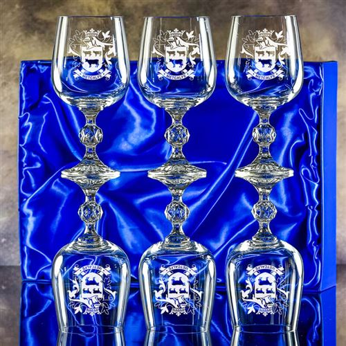 Six Claudia Engraved Goblet Glasses Gift Set