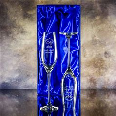 Two Lydia Engraved Champagne Flutes Gift Set