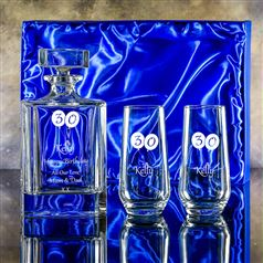Engraved Atlas Gin Decanter, Pair Hiball Set Presentation Boxed