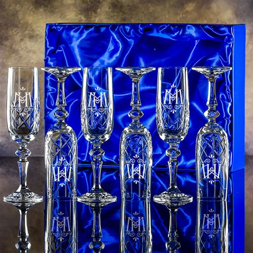 Engraved Crystal Edward Flute Set of Six in a Pres