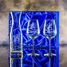 Crystal Swirl Carafe and Goblet Glasses Gift Set