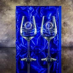 Two Swirl Goblet Glasses Gift Set