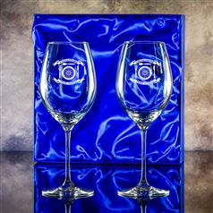 Two Lydia Engraved Goblet Glasses Gift Set