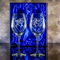 Two Lydia Diamante Heart Goblet Glasses Gift Set