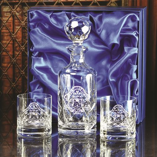 Presentation Boxed Cut Burleigh Decanter with Two Edward Cut Tumblers Set