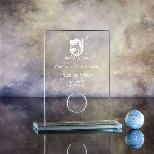 Engraved Crystal Captain's Drive In Golf Ball Holder