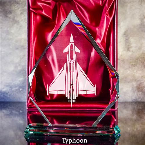 Small Crystal Engraved Typhoon Plaque