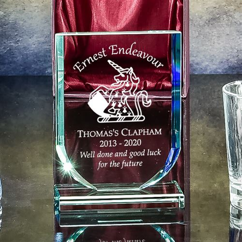 Presentation Boxed Engraved Crystal Medium Shield