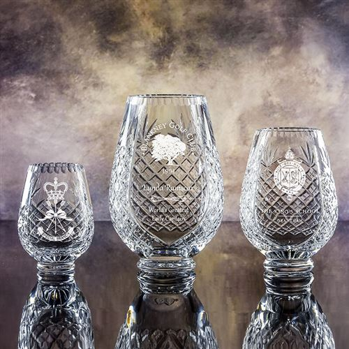 Large Crystal Engraved Trophy Vase