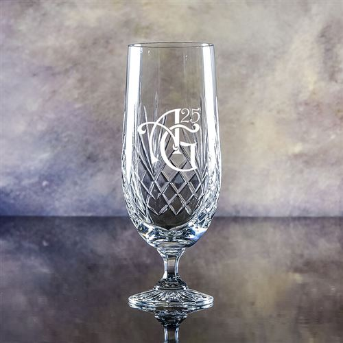 Hand Cut Crystal Engraved Gala Glass