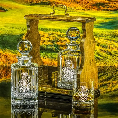 Tantalus with Two Cut Salisbury Decanters and a key