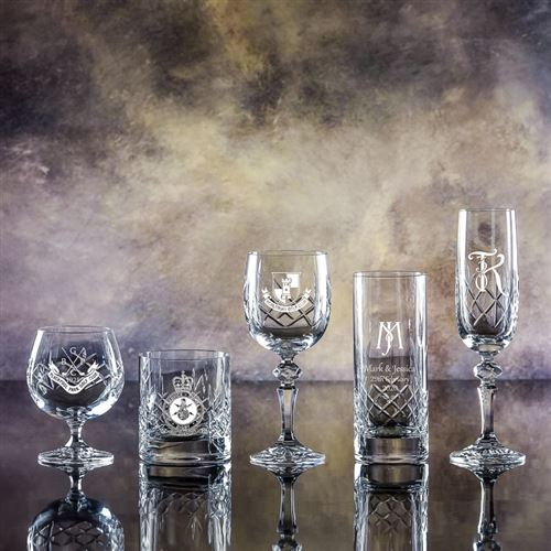 Edward Cut Crystal Engraved Hiball Glass