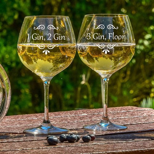 Crystal Engraved Gin Bloom Glass