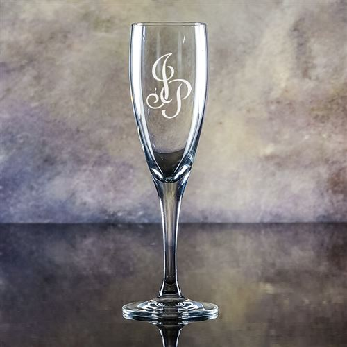 Crystal Engraved Forest Flute Glass