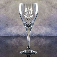 Hand Cut Crystal Engraved Forest Goblet Glass